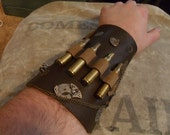 Leather Steampunk Clockwork Bracelet Bracer with Bullet Caseings, D Rings, Gears, Pockets, Eyelets and Copper Tube