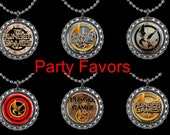 Bottle Cap Necklaces or Zipper Pulls - Birthday Party Favors - Pack  of 6 - Hunger Games