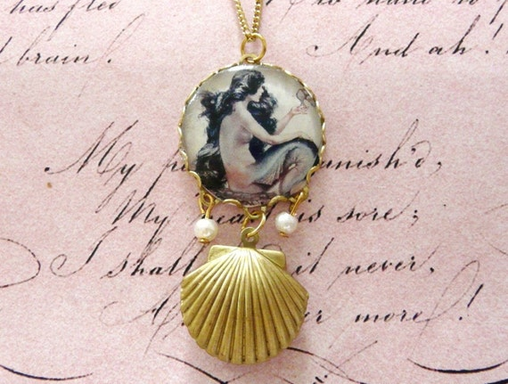 Half price Mermaid Locket,  Mermaid Necklace, Pearl Locket, Shell Locket, Pendant