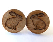 Wooden earrings studs jewelry women eco friendly. Rabbit bunny with love heart bamboo wood. Unique handmade jewelry by onehappyleaf onEtsy.