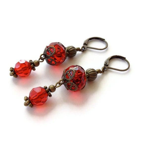 Red Earrings, Red Jewelry, Red Beaded Earrings, Leverback Earrings, Dangle Earrings