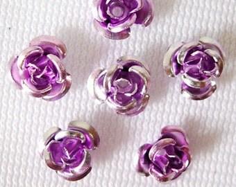 50 Metal Flower Beads 6mm Aluminum Lavendar Rose Findings (SBMFL6-1010)