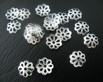 100 ct Silver Flower Bead Caps 7mm Filagree Finding (FDFLC7-FS)