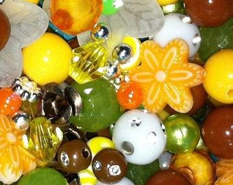 200 ct Fall Bead Assortment 17 Type Autumn Acrylic Bead Mix