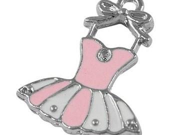 4 ct Enamel Tutu Charms 22mm Ballerina Pendant Pink / White