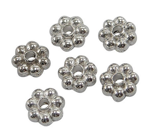 150 ct Daisy Flower Spacers Beads 4mm Tibetan Silver (FDSP4-S1001)