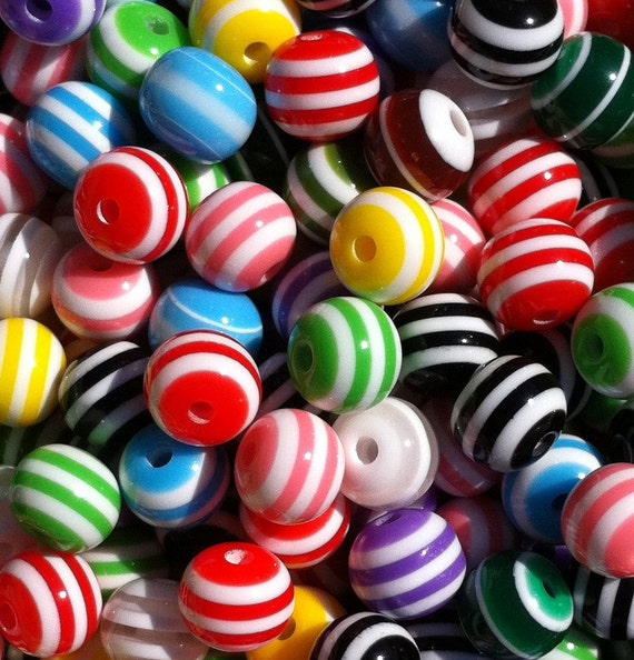 150 ct Striped Beads 8mm Resin Acrylic Rainbow Mix (SBST8-1000)