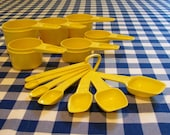Vintage Yellow Tupperware Measuring Cups and Spoons
