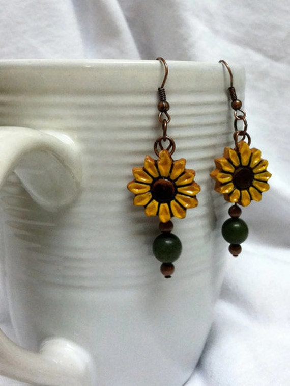 Sunflower  Earrings- Sunflower Jewelry