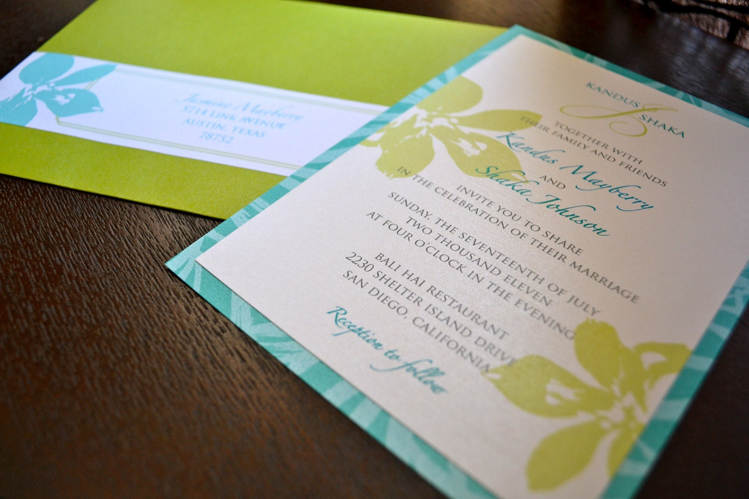 Wedding Invitations Turquoise: Turquoise And Green Tropical Wedding Invitations