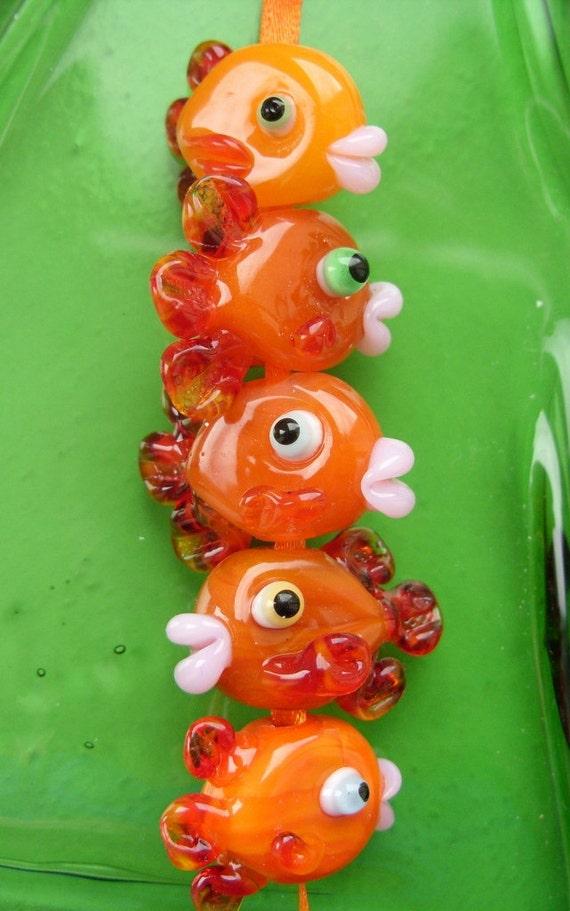 Goldfish shoal - handmade lampwork bead set