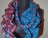 Woven print infinity scarf - gathered & braid detail - Plaid