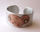 Rustic Handstamped Copper Heart Aluminum Cuff Bracelet Valentines Day Gift Horse Lover or Cowgirl