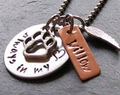 Personalized Hand Stamped Dog Remembrance Memorial Necklace -Angel Wing Charm