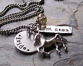 Personalized Custom Handstamped Horse Charm Necklace for Equestrian or Horse Lover.