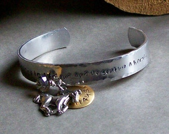 Personalized Handstamped Equine Cuff Bracelet for the Horse Lover