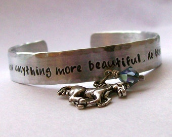 Handstamped Horse Quote Cuff Bracelet for the Equestrian