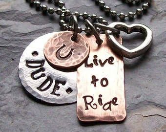 Personalized Hand stamped Rustic Horse Charm Mom Necklace Mixed Metals