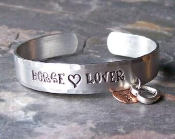 Hand Stamped Horse Lover Aluminum Cuff