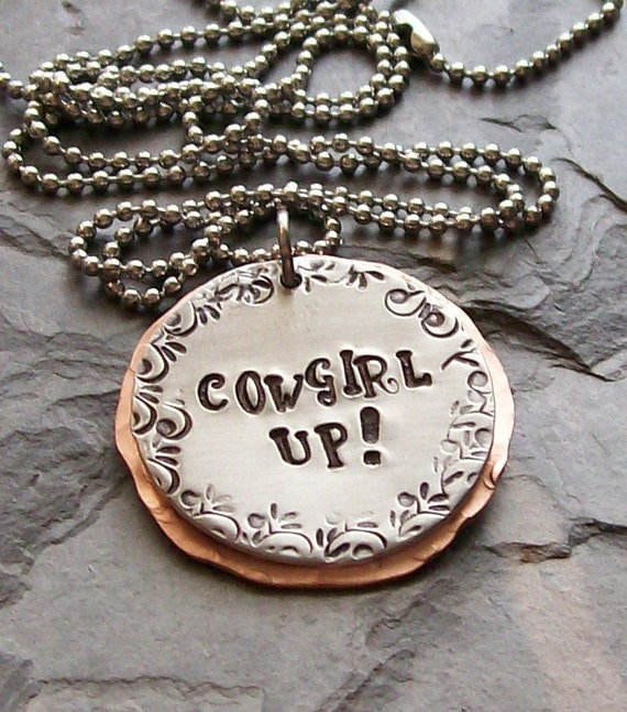 Handstamped Horse Cowgirl Equestrian Quote Pendant Necklace