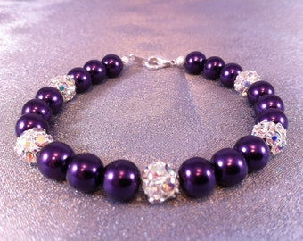 Purple Pearl and Rhinestone Dragonball Bracelet
