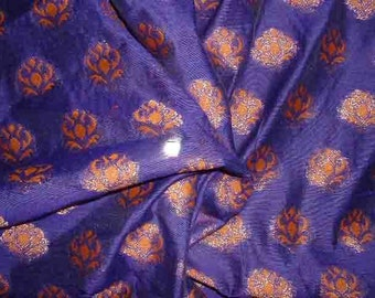 Purple Brocade with Floral metallic motifs