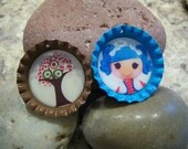 Lalaloopsy & Tree Bottle Cap Necklace, Party Favor, Accessory Set of 2