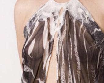 Nuno felted top dress black and white sheer silk chiffon