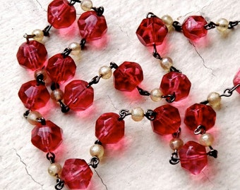 Necklace vintage glass beads