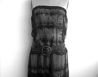 Strapless black lace tiered full length dress goth