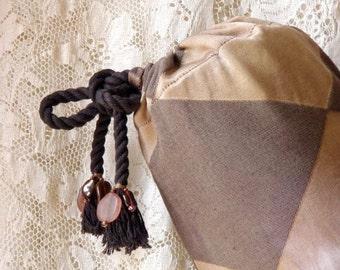 Yoga mat bag. Brown cotton beaded
