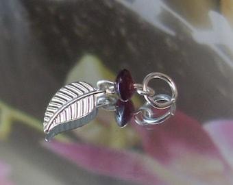 Garnet Leaf Charm