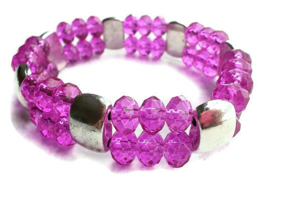 Hot Pink Glass Beaded Stretch Bracelet Silver And Magenta