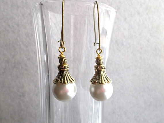 RESERVED for CHRISTMAS BELLS Scavenger Hunt Vintage Inspired Pearl Drop Earring Antique Goldtone Autumn Jewelry