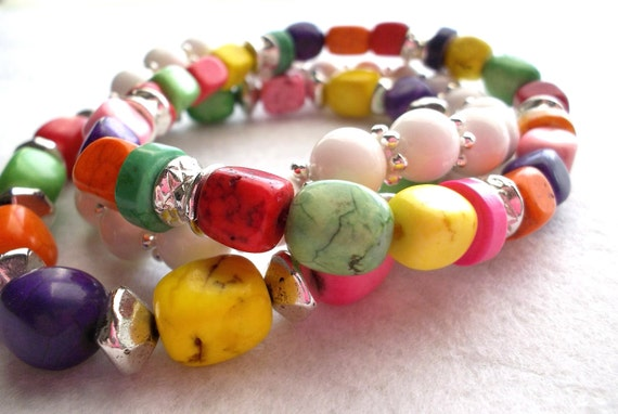 Beaded Stretch Bracelets Bright Multicolor Magnesite and Silver Bead Three Strands
