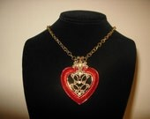 Pretty Red Heart Shaped Necklace With Gold Chain