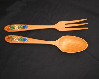Vintage Wooden Fork and Spoon with Flowers