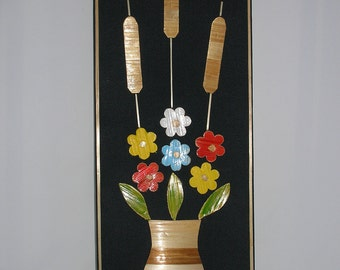 1970s Wall Hanging with Wooden Flowers and Cattails