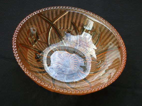 Iris and Herringbone Small Dish Carnival Glass Berry Bowl