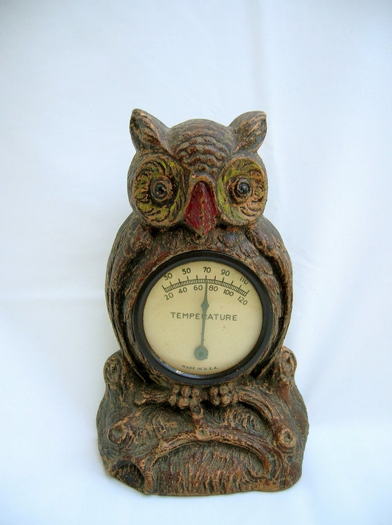 Vintage Owl Thermometer Made in USA