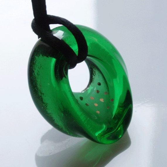 recycled beer bottle glass pendant - green - one of a kind fused