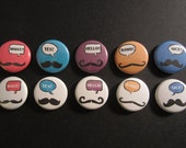 """Mustaches - 1"""" inch pinback button"""