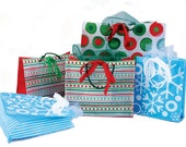 SALE . 5 reusable, recyclable GIFT BAGS bargain . Holiday Collection . red green stripes polka dots snowflakes