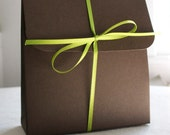 FIVE wedding, shower or party Chocolate green party favors .  jewelry packaging