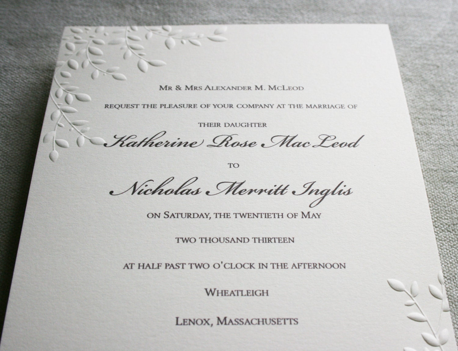 Embossed Card For Wedding Invitations: FOR ELMEAR Embossed Wedding Invitation Cherry
