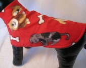 Sweater Red Dog and Bone Print  Sz XSM