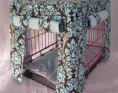 Crate Bedding Cover Fully Lined in Chocolate and Aqua Damask Print