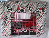 Crate Bedding Cover Fullly Lined in Gray Red and Black
