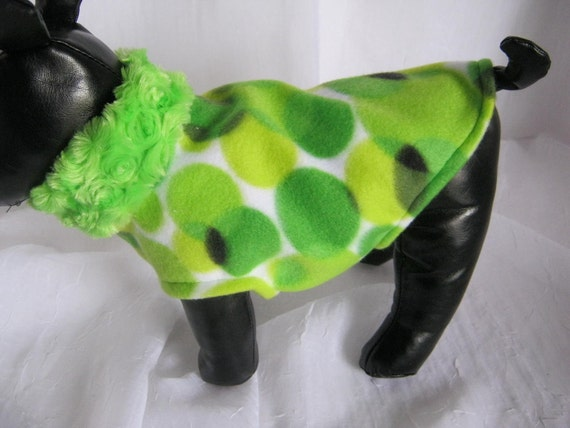 Sweater Lime Green Dots with Minky Collar   Sz XSM