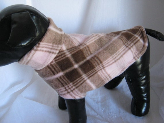 Sweater Pale Pink with Cocoa Brown Plaid Fleece  Sz Sm